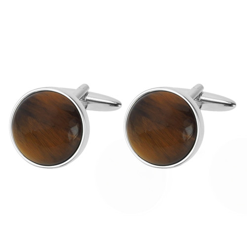 Boutons de manchette  Cat's Eye - Marron  (1)