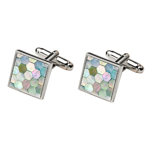 Boutons de Manchette - Green Mother of Pearl (1)