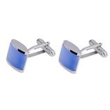 Boutons de Manchette - Blue Cats Eye Rhodium - Thumbnail 1